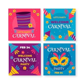 Colección de post de instagram de máscaras y fuegos artificiales de carnaval