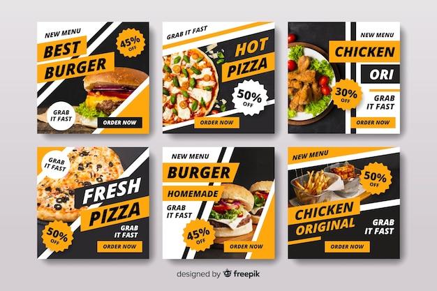 Colección de post de instagram de pizza y hamburguesa con foto
