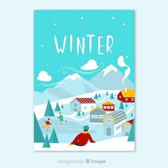 Colección de póster estacionales dibujados a mano