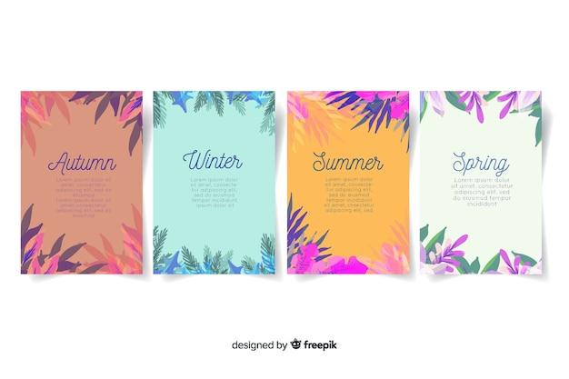 Colección de póster estacionales estilo acuarela