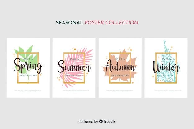 Colección de póster de estaciones dibujados a mano