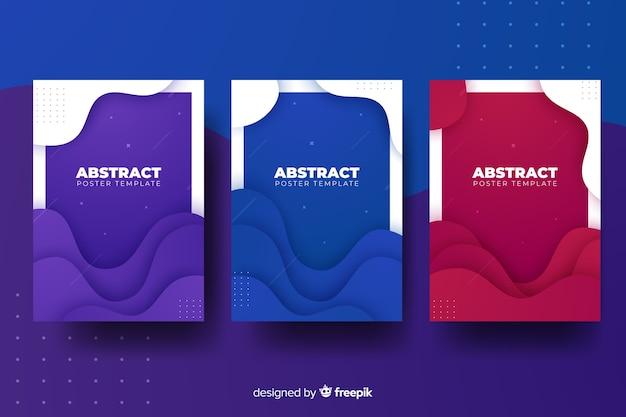 Colección de póster con formas dinámicas
