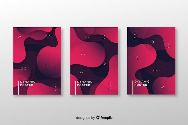 Colección de poster de formas dinámicas