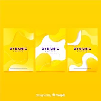 Colección de poster con formas dinámicas