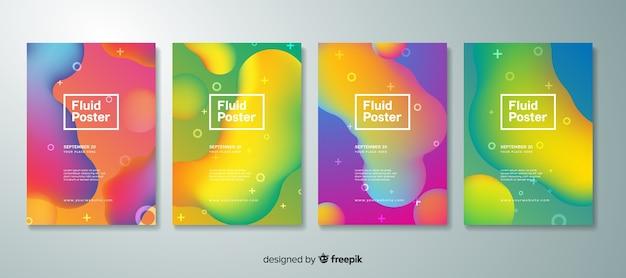 Colección de póster con formas fluídas