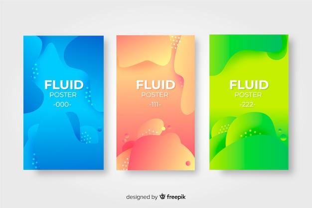 Colección de póster con formas fluidas