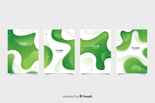 Colección de poster con formas fluidas