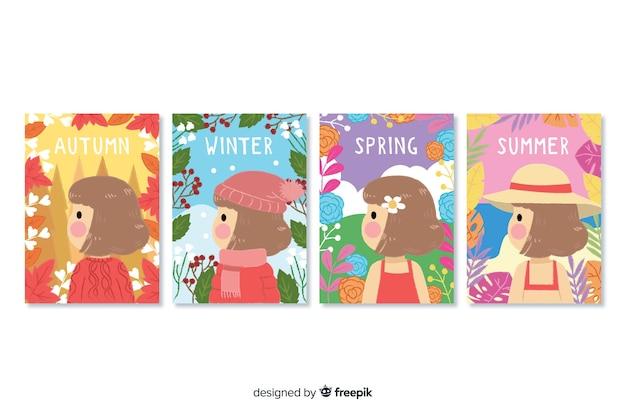 Colección de póster de temporada dibujados a mano