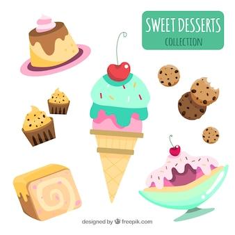 Colección de postres dulces en estilo plano