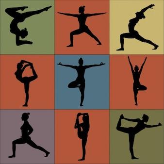 Colección de posturas de yoga