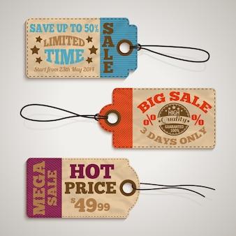 Colección de precios de venta de cartón.