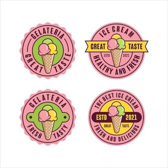 Colección premium de diseño de etiqueta de helado.