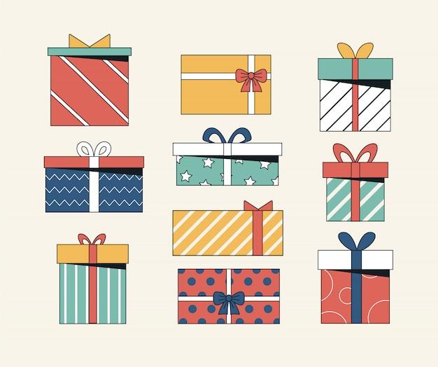 Colección presente de diferentes cajas regalo con lazos y cintas.