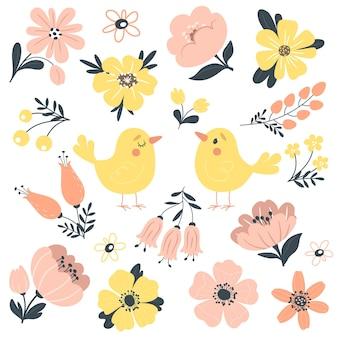 Colección de primavera con lindos pájaros y flores.