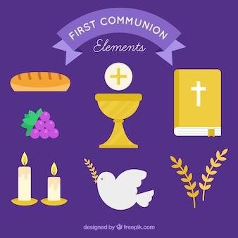 Colección de primera comunión en diseño plano