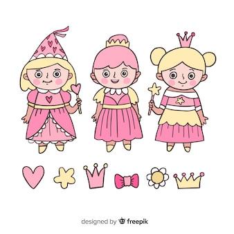 Colección princesas adorables dibujadas a mano