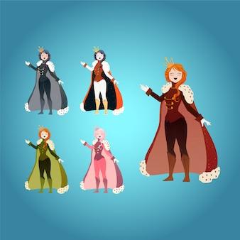 Colección de princesas en diferentes colores