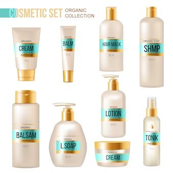 Colección de productos de belleza y cosméticos orgánicos de lujo con loción en crema, bálsamo labial y dispensador de jabón.