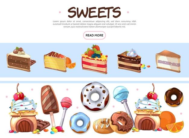 Colección de productos dulces de dibujos animados