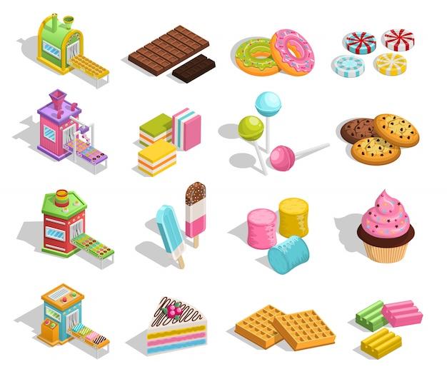 Colección de productos dulces de pastelería