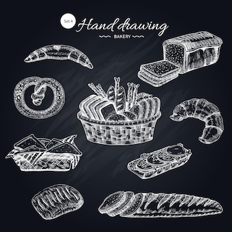 Colección de productos de harina dibujados a mano