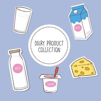 Colección de productos lácteos