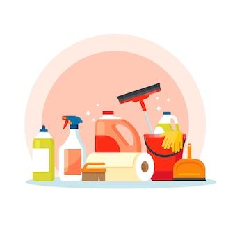 Colección de productos de limpieza de superficies