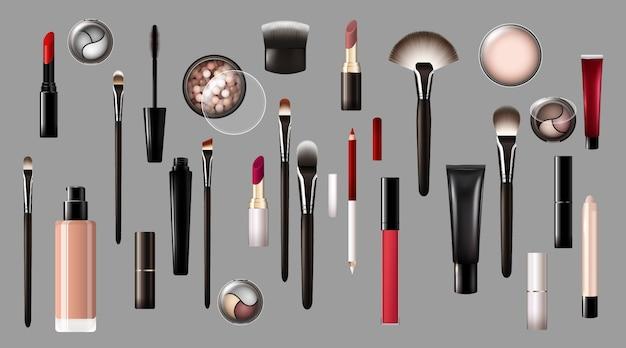 Colección de productos de maquillaje realista
