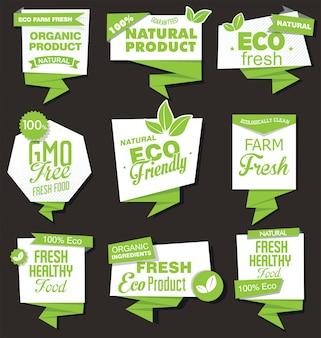 Colección de productos orgánicos naturales de etiquetas