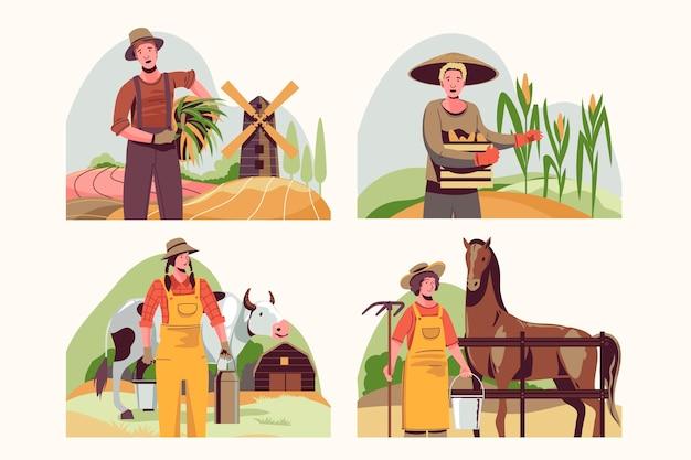 Colección de profesión de agricultura plana orgánica.