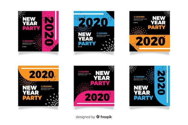 Colección de publicación de instagram de fiesta de año nuevo 2020
