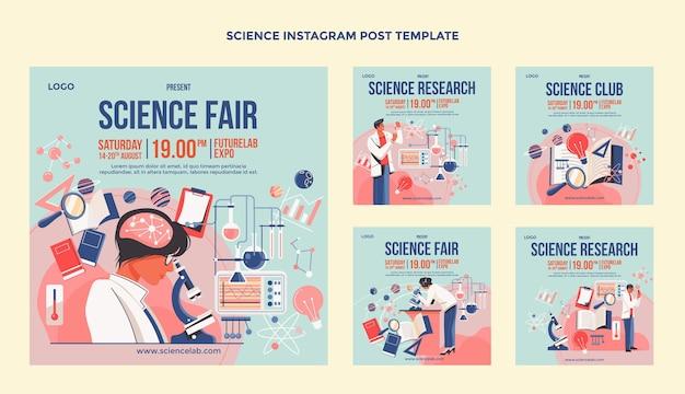Colección de publicaciones de ciencia ig de diseño plano