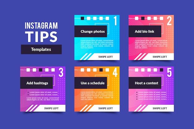 Colección de publicaciones de consejos de instagram