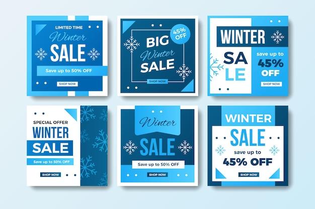 Colección de publicaciones creativas de rebajas de invierno