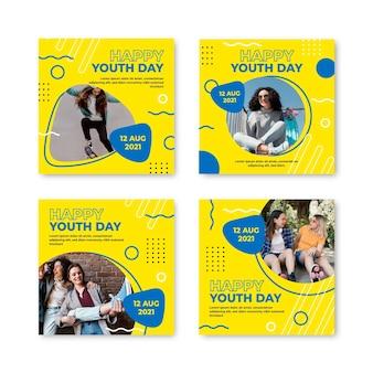Colección de publicaciones del día internacional de la juventud en degradado con foto