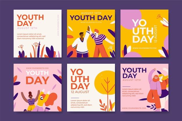 Colección de publicaciones del día internacional de la juventud dibujadas a mano