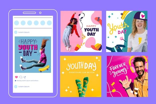 Colección de publicaciones del día internacional de la juventud de dibujos animados con foto vector gratuito