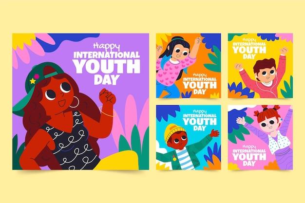 Colección de publicaciones del día internacional de la juventud de dibujos animados