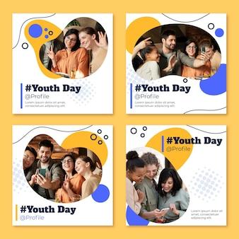 Colección de publicaciones del día internacional de la juventud con foto.