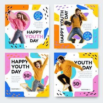 Colección de publicaciones del día internacional de la juventud con foto