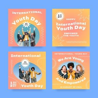 Colección de publicaciones del día internacional de la juventud gradiente