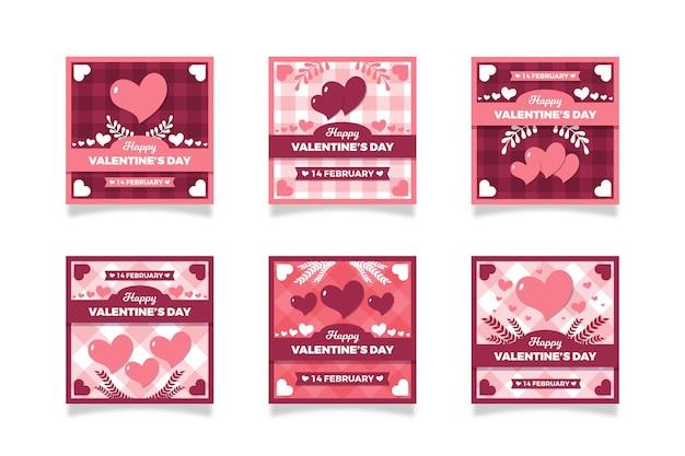 Colección de publicaciones del día de san valentín
