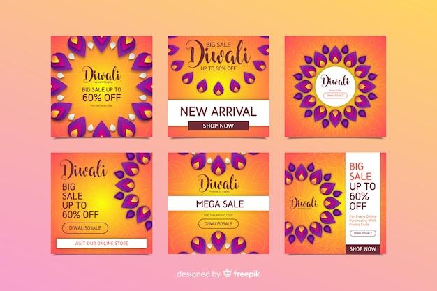 Colección de publicaciones de diwali instagram con decoraciones espirituales