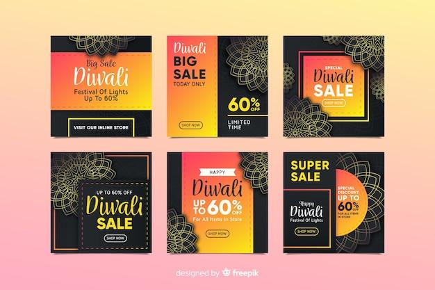 Colección de publicaciones de diwali instagram con fondo negro