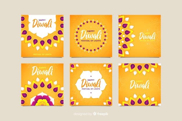 Colección de publicaciones de diwali instagram en tonos naranjas