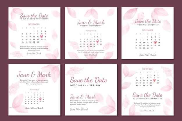 Colección de publicaciones de instagram de aniversario de boda