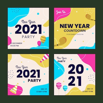 Colección de publicaciones de instagram de año nuevo 2021