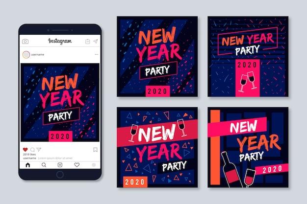 Colección de publicaciones de instagram de año nuevo con lindo fondo de confeti