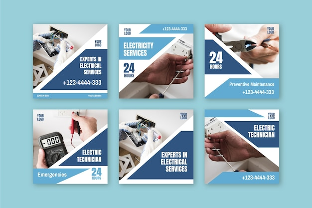 Colección de publicaciones de instagram de anuncios de electricista