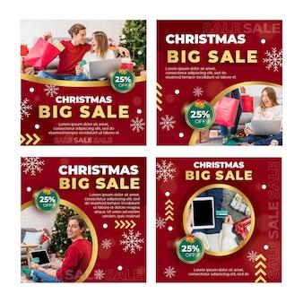 Colección de publicaciones de instagram de anuncios de ventas navideñas